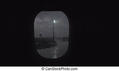 A slowmotion view from a moving plane porthole - A...