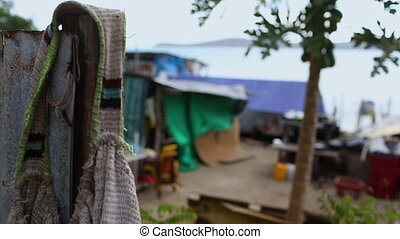 A slummy fishing village in Papua new guinea - sea facing...