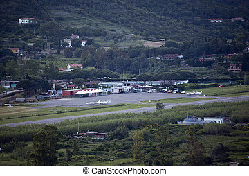 a small airport on the island of Elba in nature