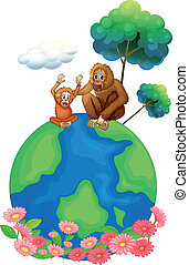A small and a big orangutan sitting above the planet earth