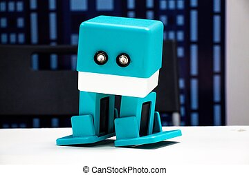 A small and cute drop of blue. The development of modern technologies has led to the creation of humanity by robots for their own good.