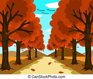 A small, beautiful road surrounded by nature. On both sides there are trees with orange leaves with leaves falling. In front there were mountains and blue sky at morning.