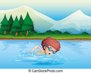 A small boy swimming