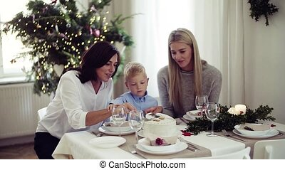 A small boy with mother and grandmother cutting a cake at Christmas time.