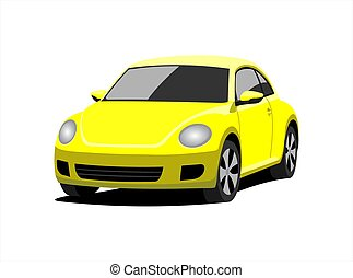 A Small Car, Front view, Three-quarter view. Yellow Car With...