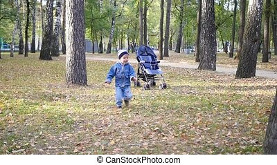 a small child plays in the Park