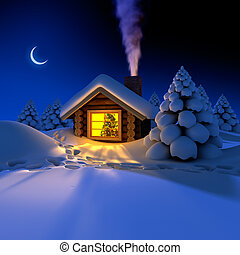 A small cottage in the fairy forest in snowy New Year's Eve....