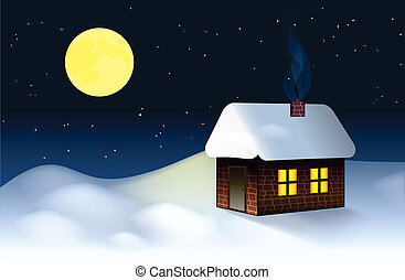 A small cottage in the snowy New Year's Eve