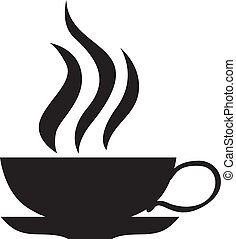 The silhouette of a small tea cups with hot drink