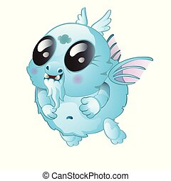 A small fantasy creature isolated on white background. Vector cartoon close-up illustration.
