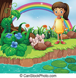 A small girl at the riverbank with mushrooms