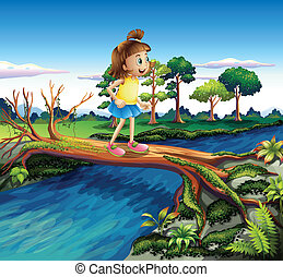 A small girl crossing the river