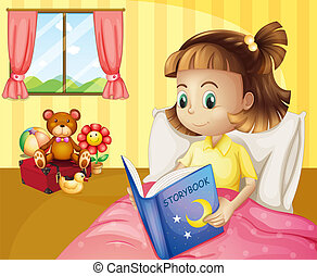 A small girl reading a storybook inside her room -...