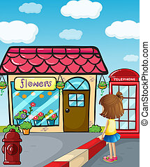 A small girl watching the flower shop - Illustration of a...