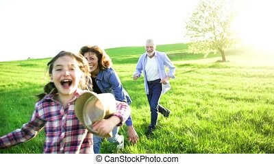 A small girl with her senior grandparents playing outside in nature at sunset.