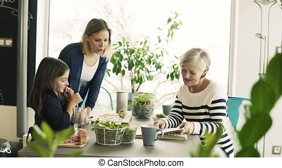 A small girl with mother and grandmother at home.