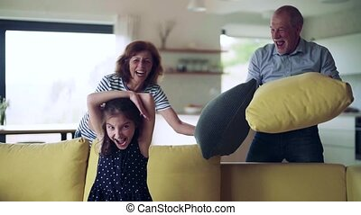 A small girl with senior grandparents indoors having fun. ...