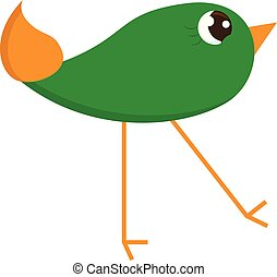 A small green bird with long legs looks cute vector or color...