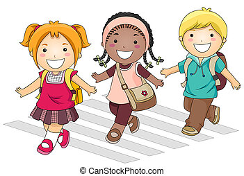 Going to School - A Small Group of Kids Crossing the Street...