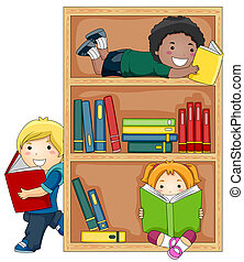 Reading Books - A Small Group of Kids Reading Books
