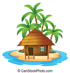 A small house in the island - Illustration of a small house...