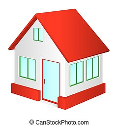 House with red roof.