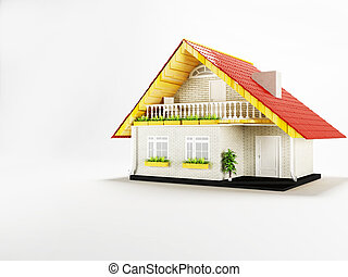 a small house on a white background