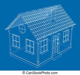 A small house with shingles roof. Vector
