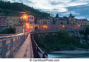 A small Italian town in the evening.