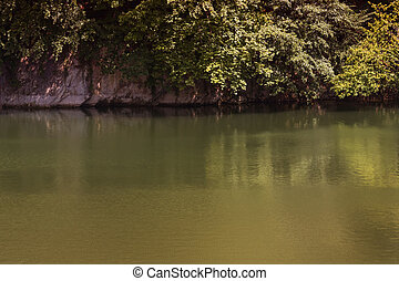 A small lake in the former quarry