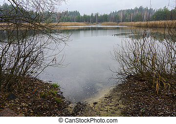 A small lake near the private wooden house