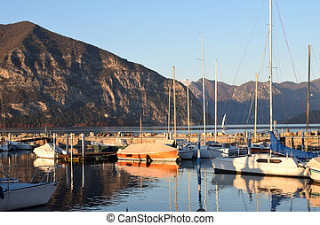A small marina on Lake Iseo in the province of Brescia