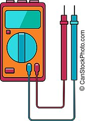 A small red blue electricity meter, tester, digital multimeter, for measuring AC, DC voltage, current, resistance, wiring damage and connections. Construction tool. Vector illustration.