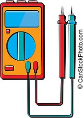 A small red blue electricity meter, tester, digital multimeter, for measuring AC, DC voltage, current, resistance, wiring damage and connections. Construction tool.