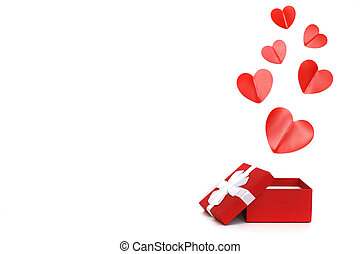 red present box with red hearts on a white background