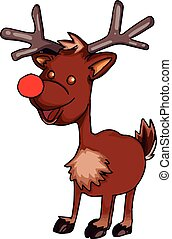 A small reindeer in brown, illustration, vector on white background.