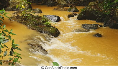 A small river from the Datanla falls in the jungle. Yellow water.