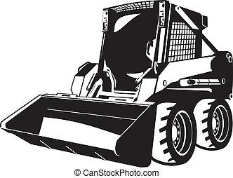 skid loader - A small skid loader. black and white ...
