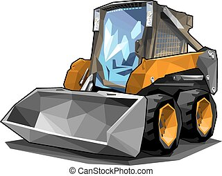 A small skid loader in polygonal style. Solid fill only, no gradients.