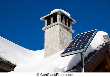 solar panel - A small solar panel installed on a mountain...