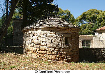 A small stone barn in rural areas