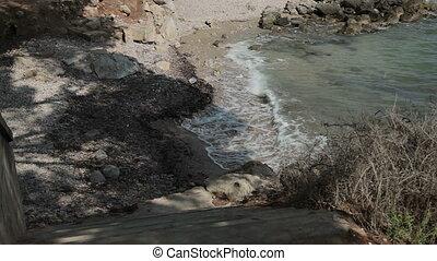 A small stony beach. Spanish beaches in Costa d'en Blanes. Mallorca