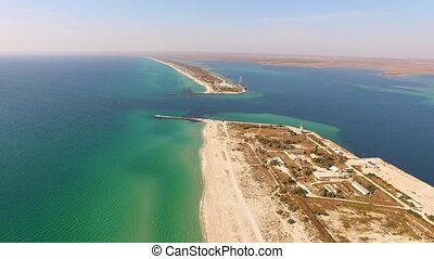 a small strait in the sea. bird's eye view. - a small strait...