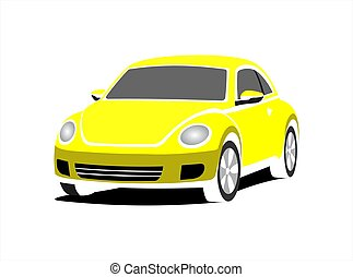 A Small Stylized Car, Front view, Three-quarter view. Yellow...