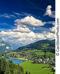 A small swiss village near The Mountain Titlis in...