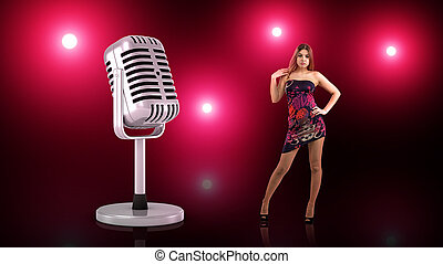 A small woman in a short dress stands provocatively near a large retro microphone on pink-red background.