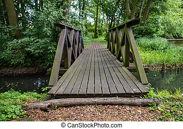 A small wooden bridge in the park. Crossing a small river in the forest area.