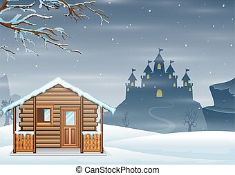 A small wooden house and silhouette castle on the winter hill