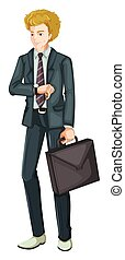A Smart Business Man on White Background