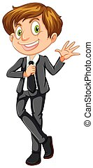 A Smart Businessman on White Background